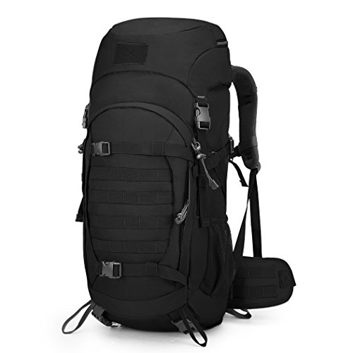 Mardingtop 50L Hiking Backpack Molle Internal Frame Backpacks with Rain Cover for Tactical Military Camping Hiking Trekking Traveling (Black-50L)