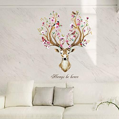Creativo Fawn flor y pájaro sala de estar dormitorio muebles decoración vinilo pared pegatina DIY pared pegatina cartel
