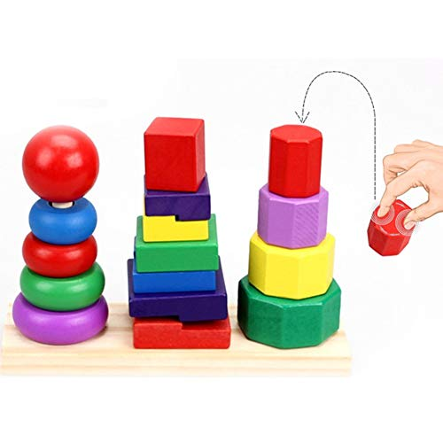 Almabner Apilador geométrico, juguete educativo de madera, anillos arco iris para niños, juguete para niñas y niños, No nulo, colorido, Tamaño libre