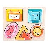 TOYANDONA Clasificador de Forma de Madera Apilador Cuadrado 3D Bloques de Construcción Rompecabezas Montessori Color Clasificación Preescolar Formas Geométricas Juguete para Niños Juguete