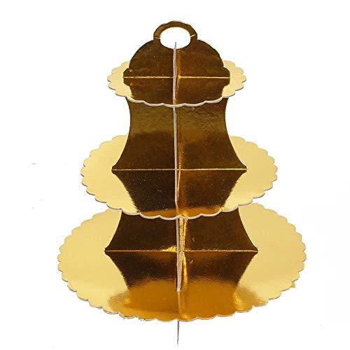 Bandejas para Tartas 2 piezas de 3 capas de cartón redondo, bandeja de postres, pastelería, pastel de postres, postres, torre de postres, que sirve plato de exhibición de alimentos (2 piezas) para Cup