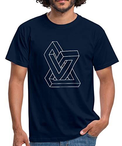 Optische Täuschung Unmögliche Figur Männer T-Shirt, 3XL, Navy