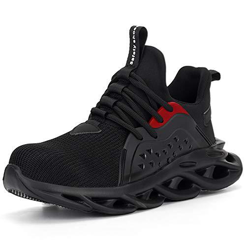 UCAYALI Zapatillas de Seguridad Hombre Calzado de Trabajo Cómodo Zapatos de Seguridad con Punta de Acero Zapatos Protección Deportivos Negras B Size 45