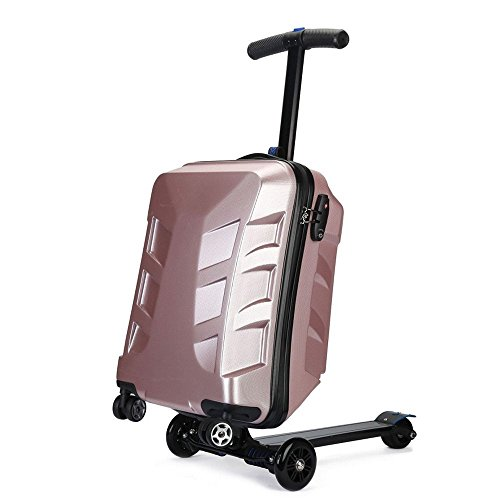 Sondre Scooter Luggage, TSA Lock Scooter Rolling Suitcase for Travel, School and Business … (pink)