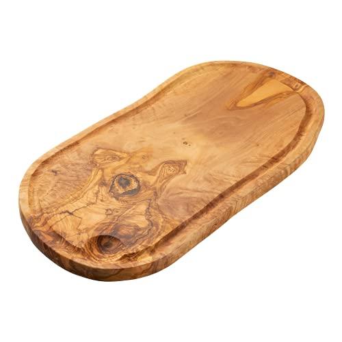Erreke – Tabla de Cortar, Madera de Olivo, para Servir o Picar, Tabla de Cocina (43x21 cm con Ranura para Líquidos)