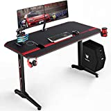 VIT 55 Inch Ergonomic Gaming Desk, T-Shaped Office PC Computer Desk with Full Desk Mouse Pad, Gamer Tables Pro with USB Gaming Handle Rack, Stand Cup Holder&Headphone Hook (55 inch, Black)