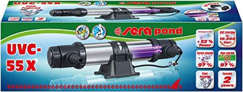 sera 32308 Pond UVC-55X ein Hochleistungs UV-C Wasserklärer gegen grünes Wasser, gegen Algen und Krankheitserreger - UVC bzw. UV-C Klärer oder Teichklärer - Schwebealgen Vernichter Teich