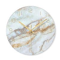 目覚まし時計 1個のノルディック大理石の壁掛け時計現代のミニマリストベッドルームアート時計パーソナリティ創造的なリビングルームファッションウォールウォッチ (Color : D, Sheet Size : 12 INCH)