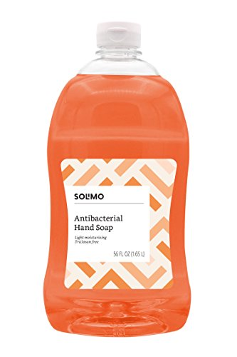 Amazon Brand - Solimo Antibacterial Liquid Hand Soap Refill, Light Moisturizing, Triclosan-Free, 56 Fluid Ounces, Pack of 1