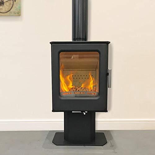 Mendip Wood Burning Stove Window 4.7kW Fire Eco & Defra Pedestal Freestanding