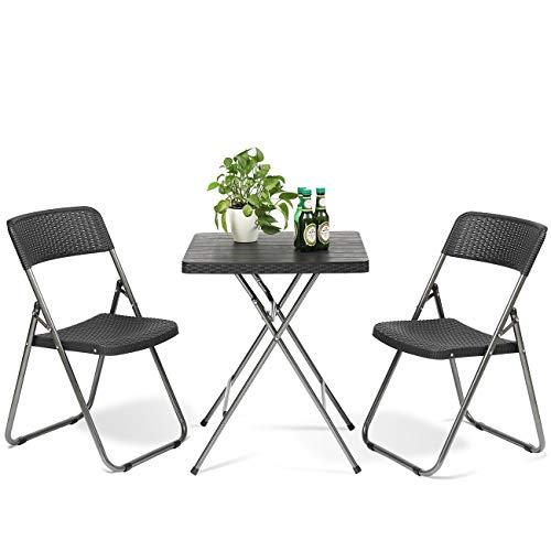 Sekey Balkonmöbel Set Klappbar 3-teiliges, Gartenmöbel Bistro Set inkl. Rattan Stühle mit Holzmaserung Tisch, für Garten Terrasse Innen- und Außenbereich, Schwarz