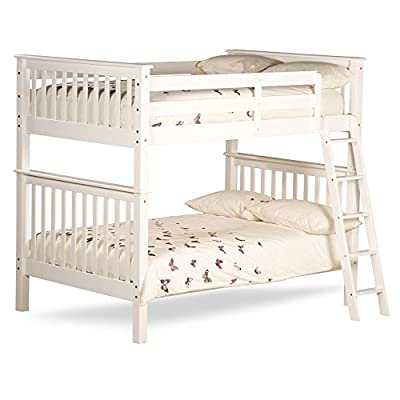 Happy Beds Malvern White Wooden Quadruple Sleeper Bunk Bed Furniture Bedroom