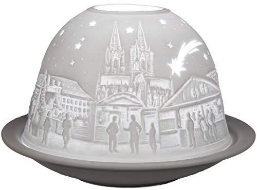 Himmlische Düfte Geschenkartikel GmbH Köln Windlicht, Porzellan, Weiß, 12 x 12 x 8 cm