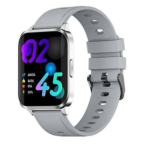 QFSLR Smartwatch Reloj Deportivo con Monitor De Frecuencia Cardíaca Monitoreo De Oxígeno En Sangre Monitoreo De Temperatura De Reloj Inteligente Control De Música,Gris,largre