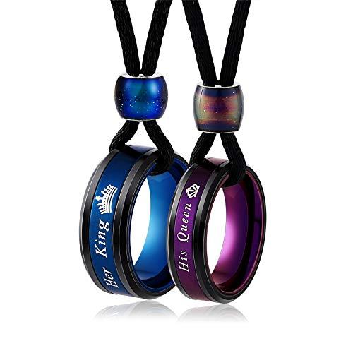 DOLOVE 1 Paar Ringe Her King und His Queen Hochzeit Ringe Edelstahl für Damen und Herren Partnerringe Krone Damen Größe 54 (17.2) & Herren Größe 60 (19.1)
