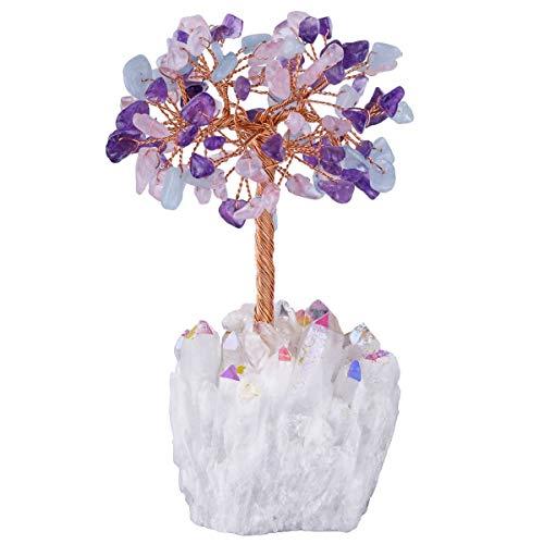mookaitedecor - Árbol de Piedras Preciosas y Cristales curativos Naturales, Adorno de Feng Shui con Base de Cristal de ángel Aura, Piedra, Blue & Purple & Pink