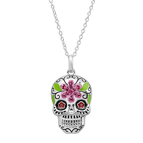 Crystaluxe Flower Sugar Skull Pendant with Swarovski Crystals in Sterling Silver, 16+2'