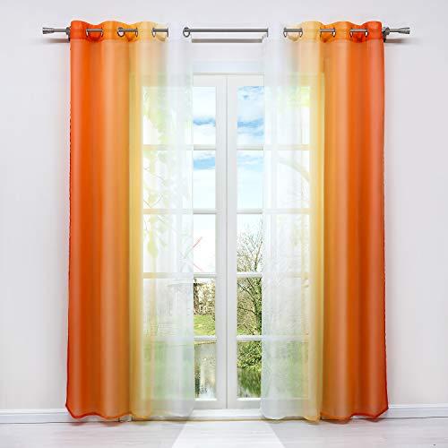 HongYa 2er-Pack Farbverlauf Gardinen Transparenter Voile Vorhänge Schals mit Ösen H/B 145/140 cm Orange