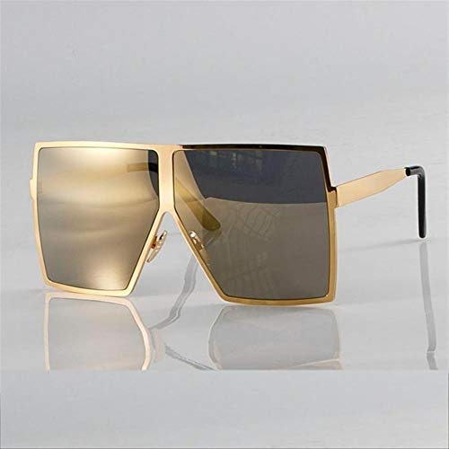 N\A Gafas de Sol de Moda Moda Oro de Gran tamaño Cuadrados Gafas de Sol for Las Mujeres del Marco del Metal de Brown Sombras de la Vendimia de los vidrios UV400 (Lenses Color : C3 Gold)