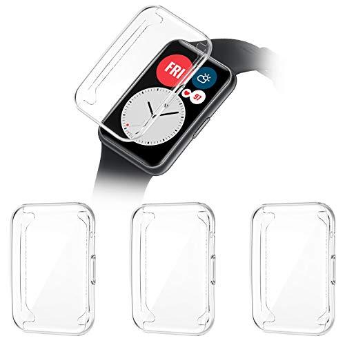 HAPAW Protector de Pantalla Compatible con Huawei Watch Fit, [paquete de 3], Fundas de TPU de Cobertura Total Pantalla, Protector de Pantalla de Alta Sensibilidad sin Arañazos Para Huawei Watch Fit