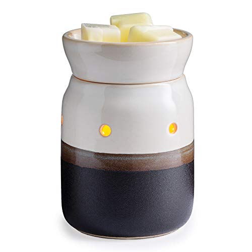 CANDLE WARMERS ETC. Midsized Illumination Fragrance Warmer- Light-Up Warmer for Warming Scented Candle Wax Melts and Tarts or Fragrance Oils to Freshen Smaller Rooms, Ivory and Iron Pottery