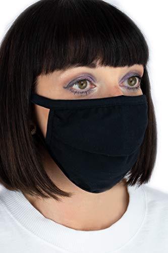 Janmed Mund-Nasen-Maske/Community-Maske aus 100% Baumwolle (5, schwarz)