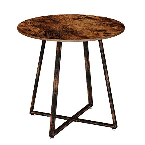 Rolanstar Dining Table Rustic Round Table with Metal Legs for Kitchen Living Room Coffee Table Bristro Table for Cafe/Bar