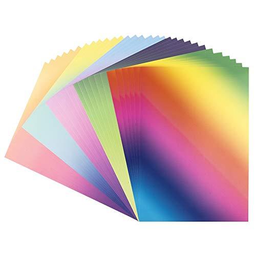 Dekor-Papier mit Farbverlauf | bunter Deko-Karton | DIN A4 | 250 g/m² | intensiv oder Pastell (5 Verschiedene Farbverläufe | 30 Bogen)