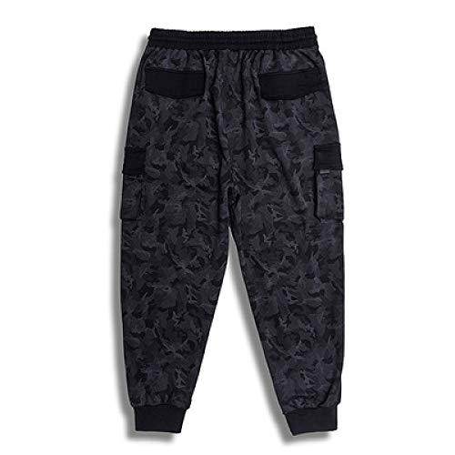 nobranded Pantalones de Hombre Cordón Casual Cintura elástica Camuflaje Slim Fit Pantalones Ajustables con Apertura de Tobillo Pantalones Multibolsillos