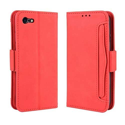 para funda iPhone 7/8, función inteligente con Whit, tarjeta de identificación, tapa magnética, función de soporte, costura, funda protectora a prueba de golpes Funda antideslizante (color: rojo)