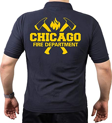 Polo bleu marine, Chicago Fire Dept. avec emblème haches et standard en jaune S bleu marine