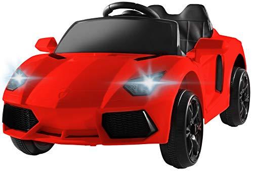 Actionbikes Motors - Auto elettrica per bambini Super Sport - sedile in pelle sintetica - Mp3 - USB - SD - telecomando 2,4 Ghz Rc con stop di emergenza - soft start - per bambini da 3 anni (Rossa)