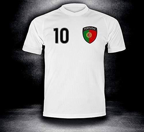 DE-Fanshop Portugal Trikot 2018 mit GRATIS Wunschname + Nummer im EM WM Weiss Typ #PT1t - Geschenke für Kinder Erw. Jungen Baby Fußball T-Shirt Bedrucken