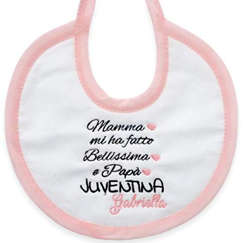Bavetta nascita bimba juventus neonato personalizzata con nome - frase divertente per Juventina - bavero per juve, juventina, neonata, divertente