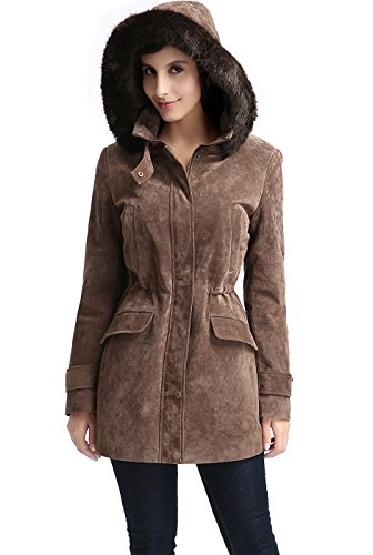 BGSD Women's Chloe Hooded Suede Leather Parka Coat Brown Large