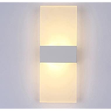 Alotm 8.7 x4.3  6W Modern Acrylic LED Wall Sconces Aluminum Lights Fixture Decorative Lamps Night Light for Pathway, Staircase, Bedroom, Balcony, Drive Way, Living Room Warm White (White)