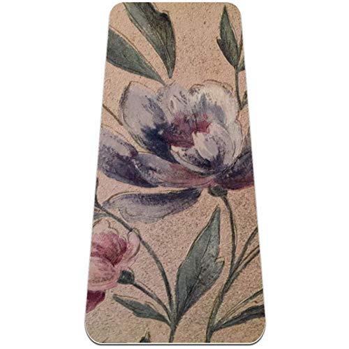Yogamatte - Orchidee Retro Art - rutschfeste Sweat Proof Oberfläche - 100%...