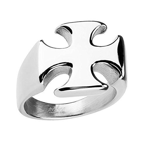 Piersando Herren Ring Biker Edelstahl mit Eisernes Kreuz Iron Cross Templerkreuz Motiv Herrenring 22mm Breit Silber Größe 59 (18.8)