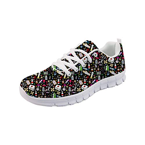 Showudesigns Damen Laufschuhe Atmungsaktiv Turnschuhe Herren Sportschuhe Sneaker Nurse Shoes Schwarz