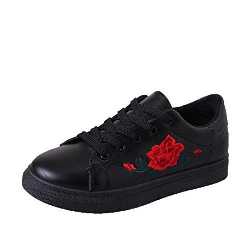 Btruely Sneakers Damen Winter Herbst Schuhe Mode Mädchen Riemen Sportschuhe Stickerei Blumen Schuhe (38, Schwarz)