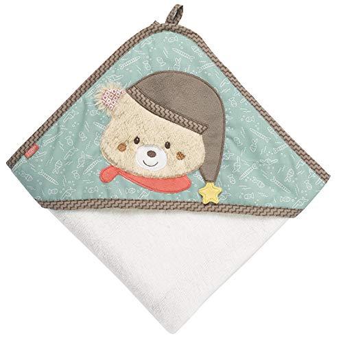 FEHN 060324 Kapuzenbadetuch Bär / Bade-Poncho aus Baumwolle mit niedlichem Bären für Babys und Kleinkinder ab 0+ Monaten