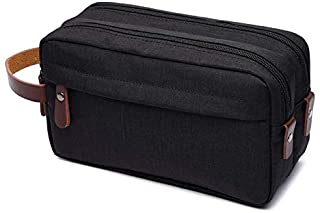 Jcevium Black Casual Canvas Cosmetic Bag with Leather Handle Travel Men Wash Shaving Women Toiletry Storage Waterproof Toi...
