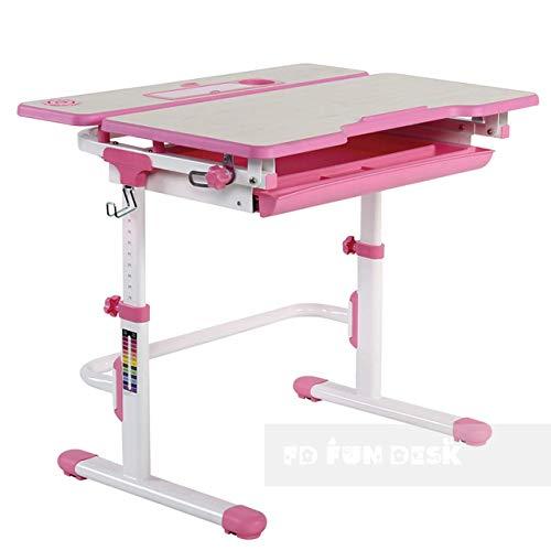 FD FUN DESK Lavoro L Pink Schülerschreibtisch höhenverstellbar, Kinderschreibtisch neigungsverstellbar, Schreibtisch für Kinder, Rosa, 794 x 608 x 540-720 mm