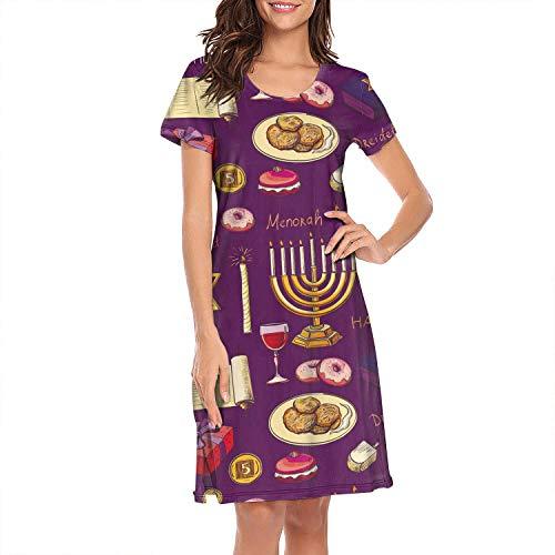 Women's Sleepwear Tops Chemise Nightgown Lingerie Hanukkah Symbols Girl Pajamas Beach Skirt Vest