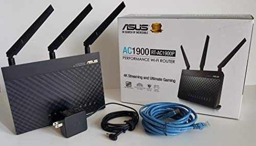 Asus RT-AC1900P - AC1900 Dual Band 802.11ac Gigabit Performance Wi-Fi Router with ASUS AC Adapter EXA1206UH & RJ-45 Cable in Box No Maual or CD.
