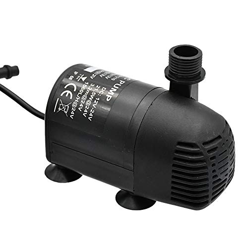 ECO-WORTHY 410 GPH Brushless Submersible Water Pump 12V-24V DC for Pond, Aquarium, Solar Fountain, Hydroponics with 16.4ft(5M) Power Cord, 2 Nozzles