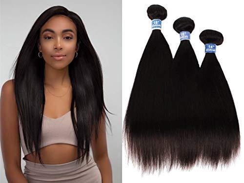 Brazilian Hair Straight 3 Bundles 100% Unprocessed Virgin hair Straight Human Hair Weave Bundles Natural Wave Natural Black Remy Hair for Women