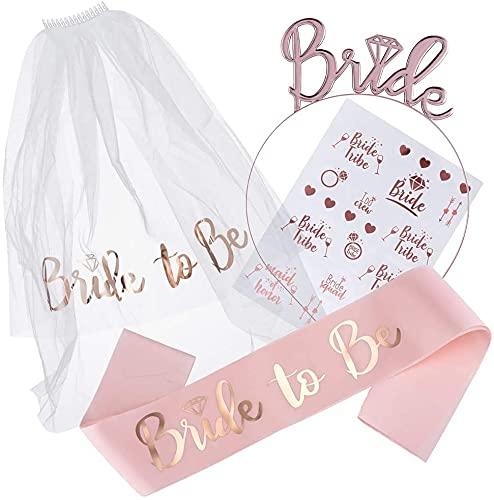 Hen Party - Set di decorazioni per la doccia e il bagaglio della doccia, accessori per festa di addio al nubilato, tiara con fascia, sash, tatuaggi per matrimoni, feste