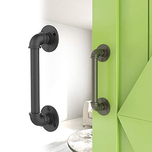 WOLFBIRD Tirador para puerta corredera de hierro negro resistente para asas de puerta de jardín rústica de madera de 30 cm