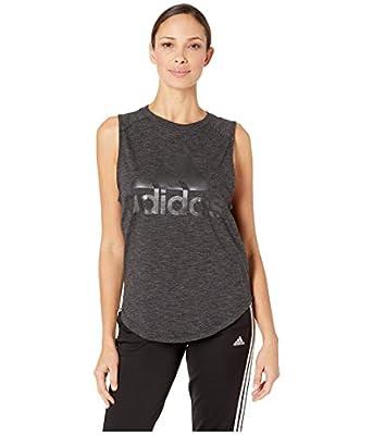 adidas womens ID Winners Muscle Basketball Long Length Sleeveless Training Tank T-Shirt, Black/White, Medium